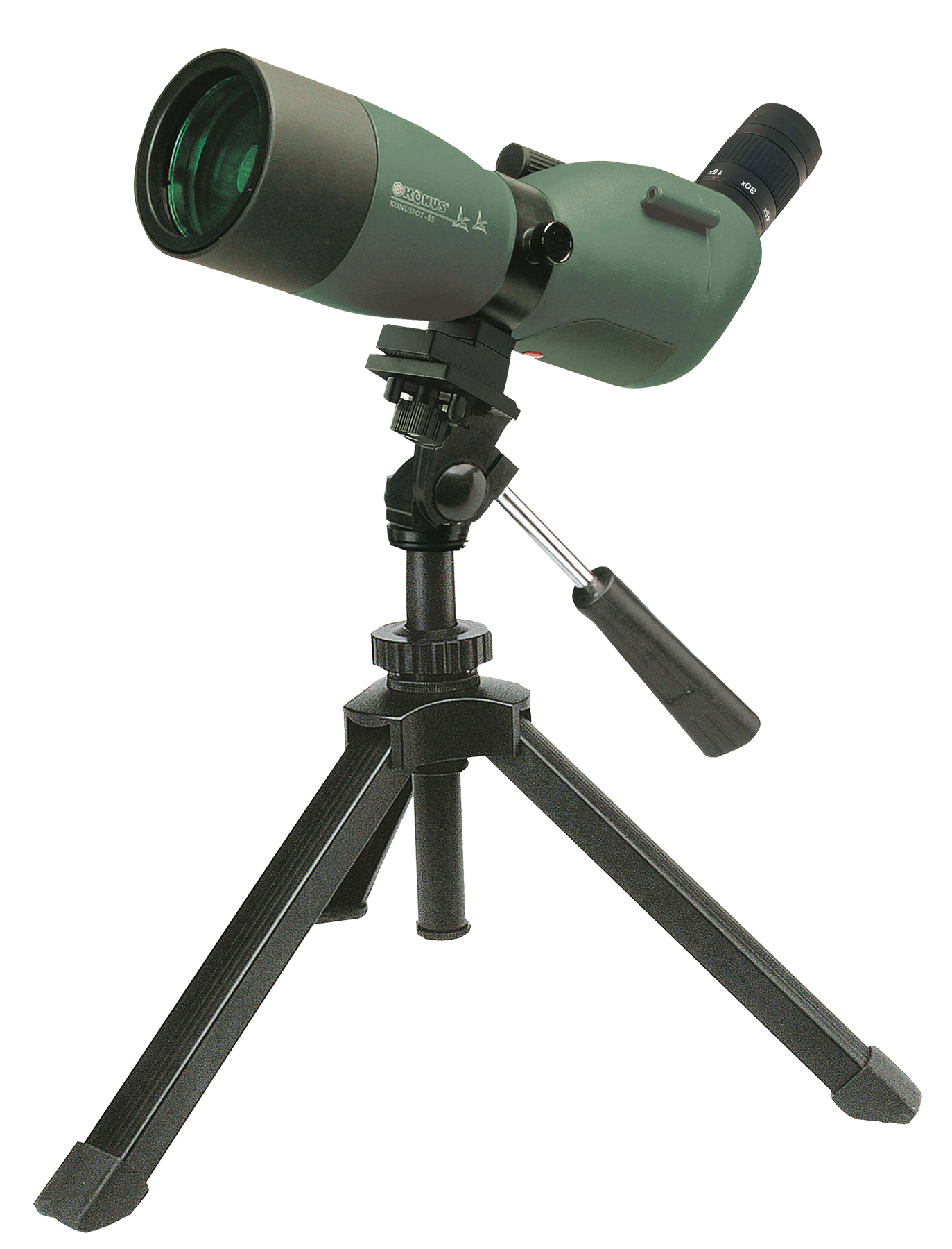 Konus 7116B KonuSpot 15-45x 65mm 115-59ft @ 1000 yds FOV Angled Green w/Tripod, Photo Adapter, Case