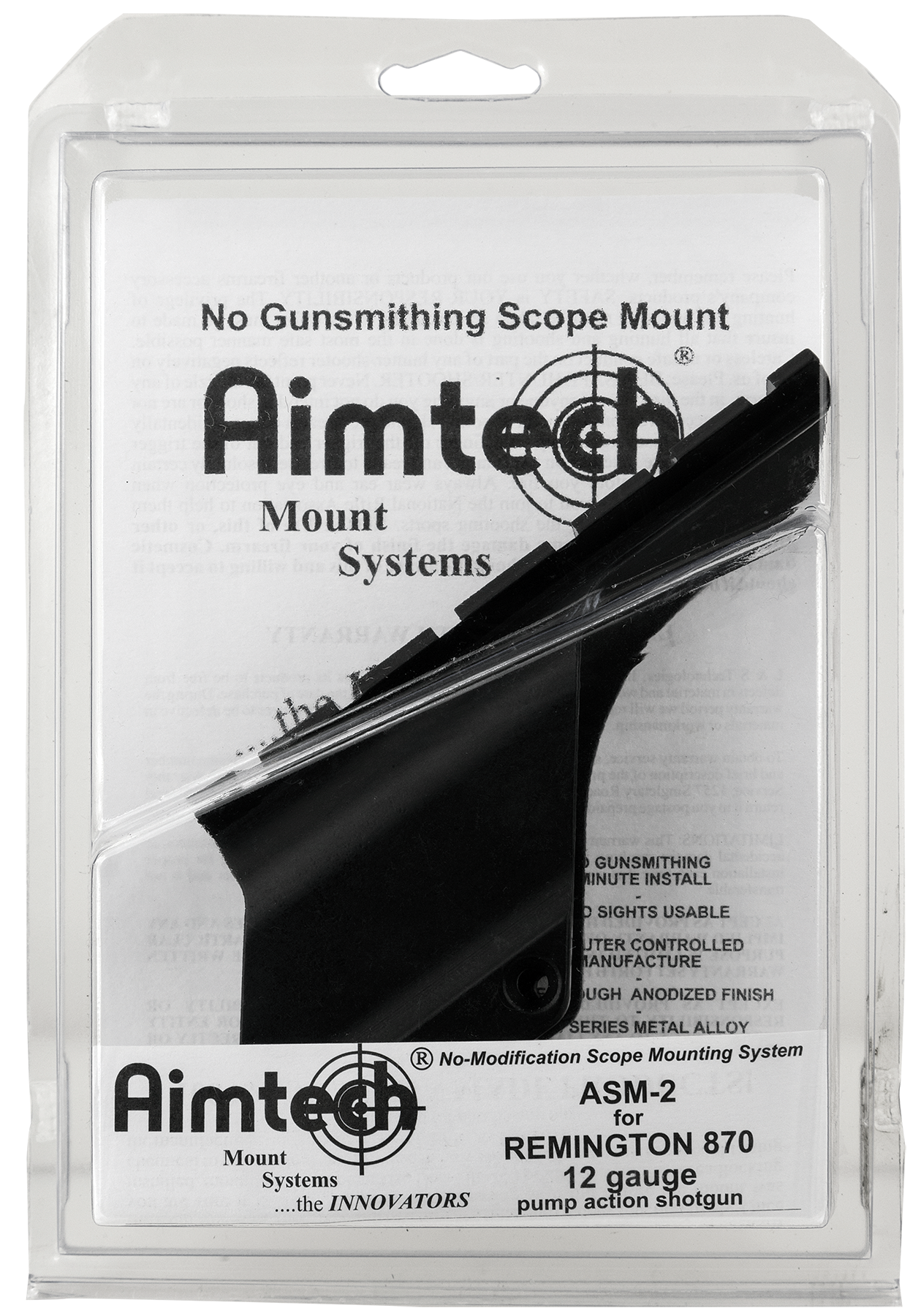 Aimtech ASM2 Scope Mount For Remington 870 12 Gauge Dovetail Style Black Hard Coat Anodized Finish