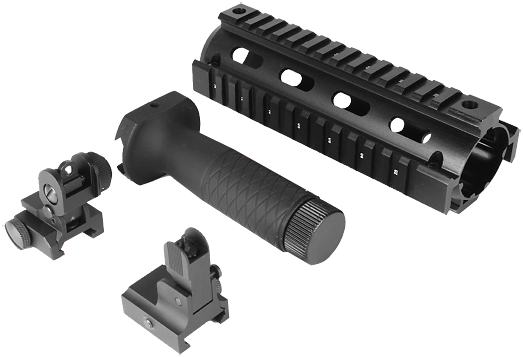Aim Sports ACAR02 AR/M4 Aluminum Black/Anodized Forend with Flip-Up Front/Rear Sights