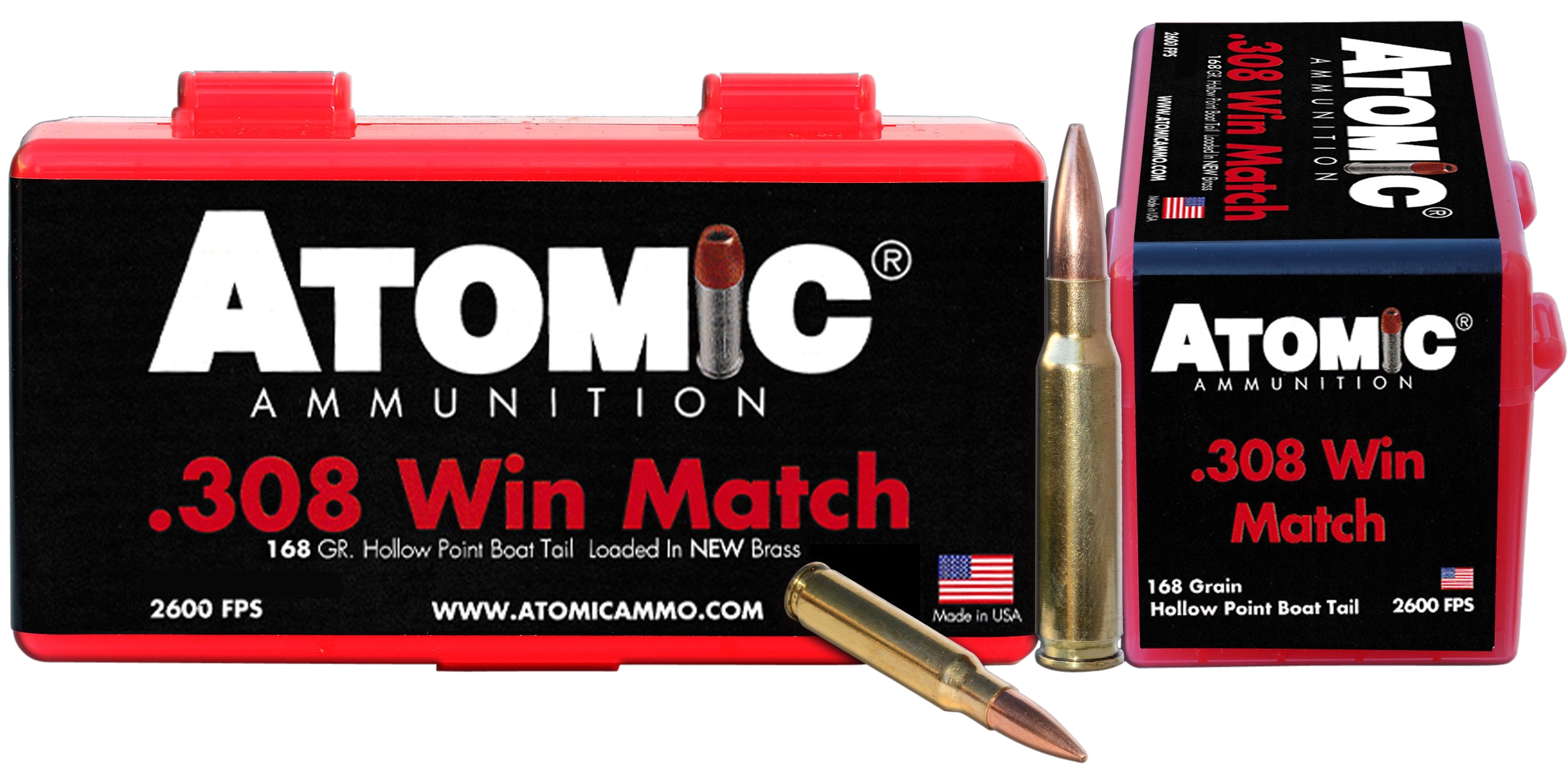 Atomic 00426 Match 308 Winchester/7.62 NATO 168 GR Hollow Point Boat Tail 50 Bx/ 10 Cs