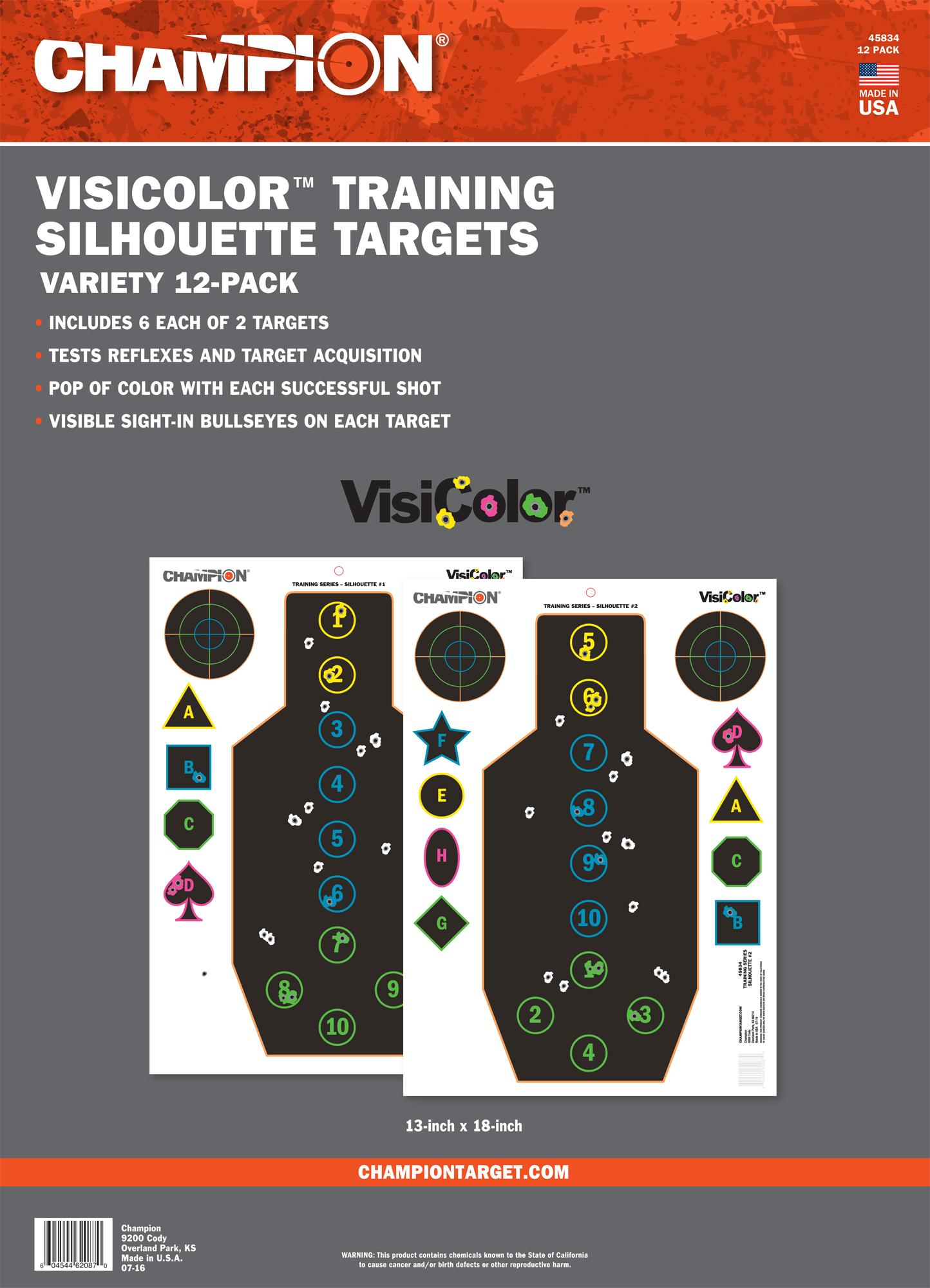 Champion Targets 45834 VisiColor Silhouette 12 Targets
