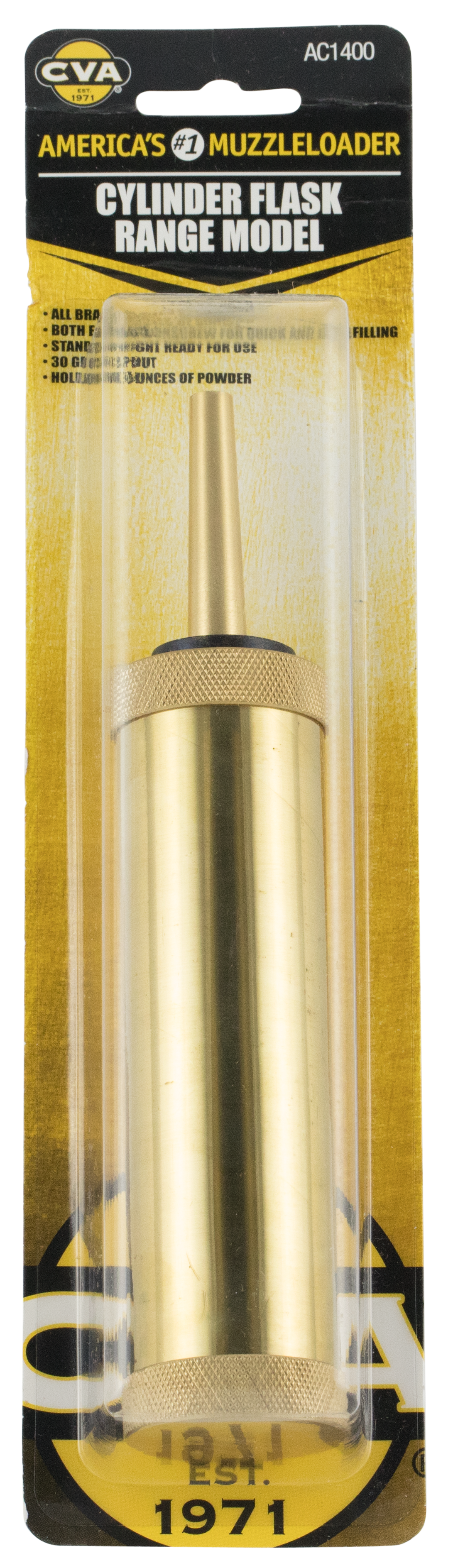 CVA AC1400 Flask Black Powder Solid Brass 5 oz