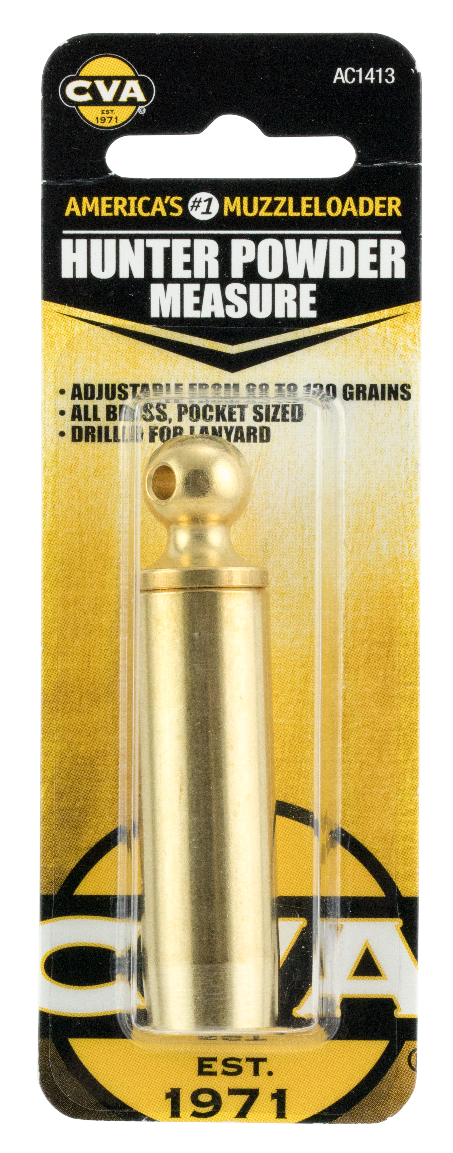 CVA AC1413 Hunter Powder Measure Black Powder Solid Brass  60-130 Grains