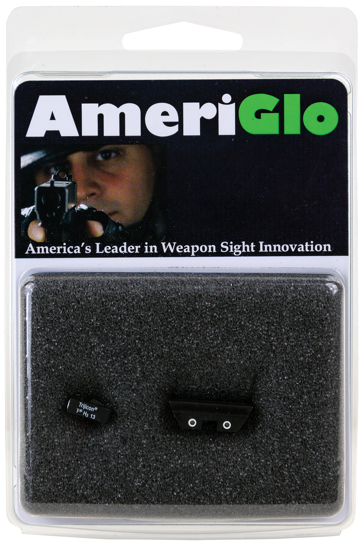 AmeriGlo GL115 Classic 3 Dot Night Sight Glock 17/19/22/23/24/26/27/33/34/35/37/38/39 Green Tritium w/White Outline Yellow w/ White Outline Black