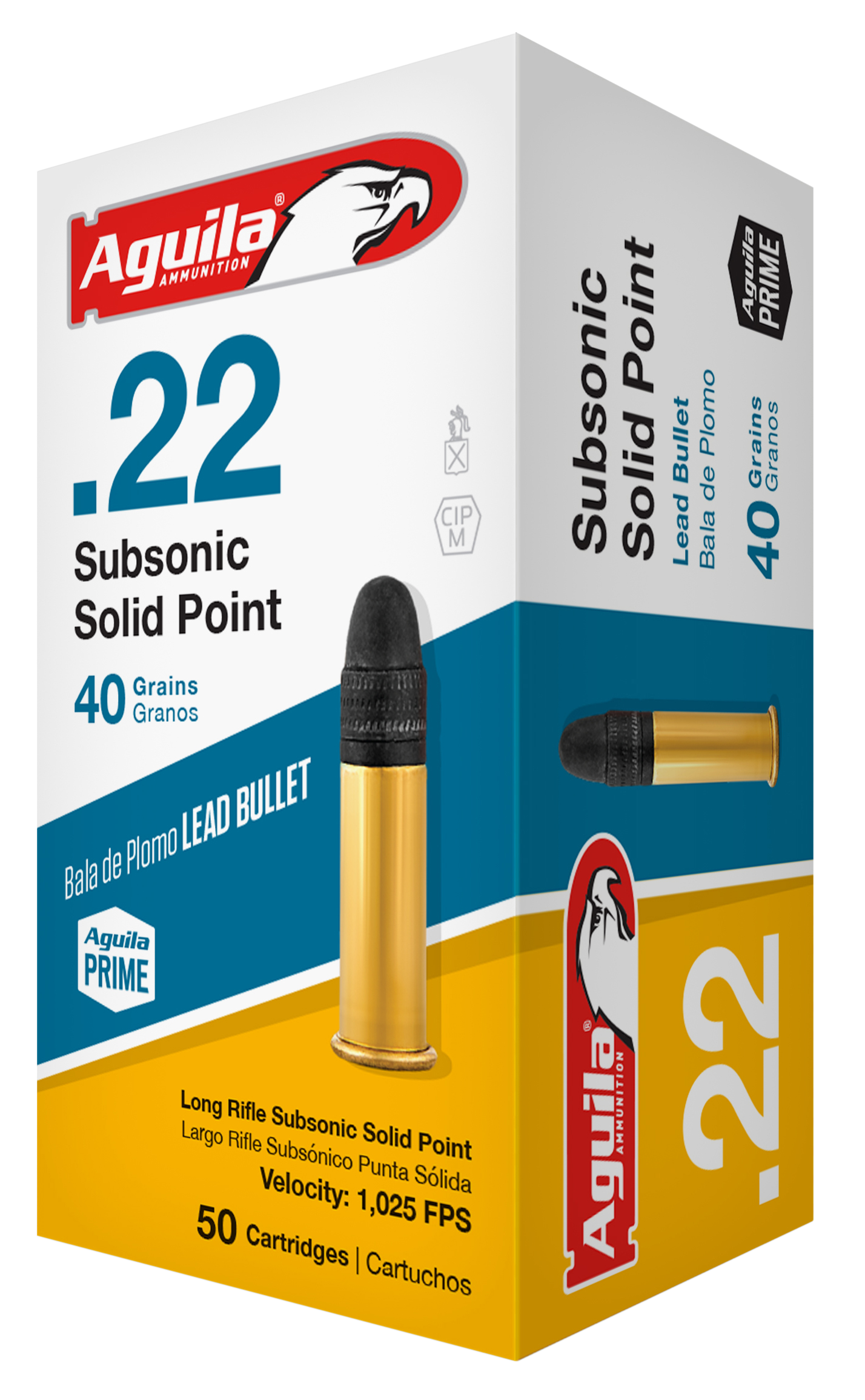 Aguila 1B222269 Standard 22 Long Rifle (LR) 40 GR Subsonic Solid Point 50 Bx/ 100 Cs