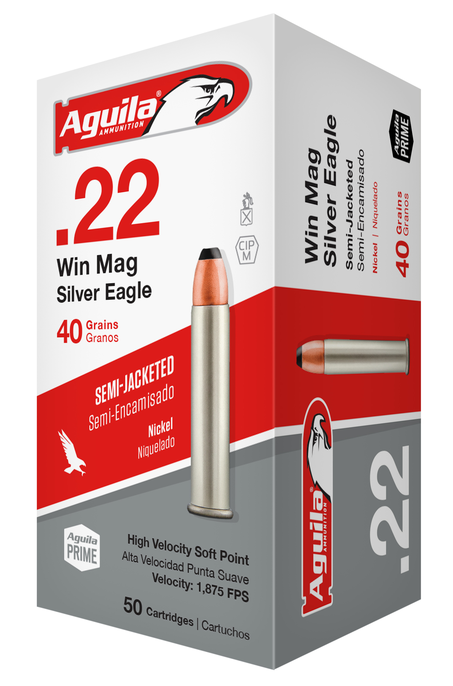Aguila 1B222400 Silver Eagle 22 Winchester Magnum Rimfire (WMR) 40 GR Jacketed Soft Point 50 Bx/ 20 Cs