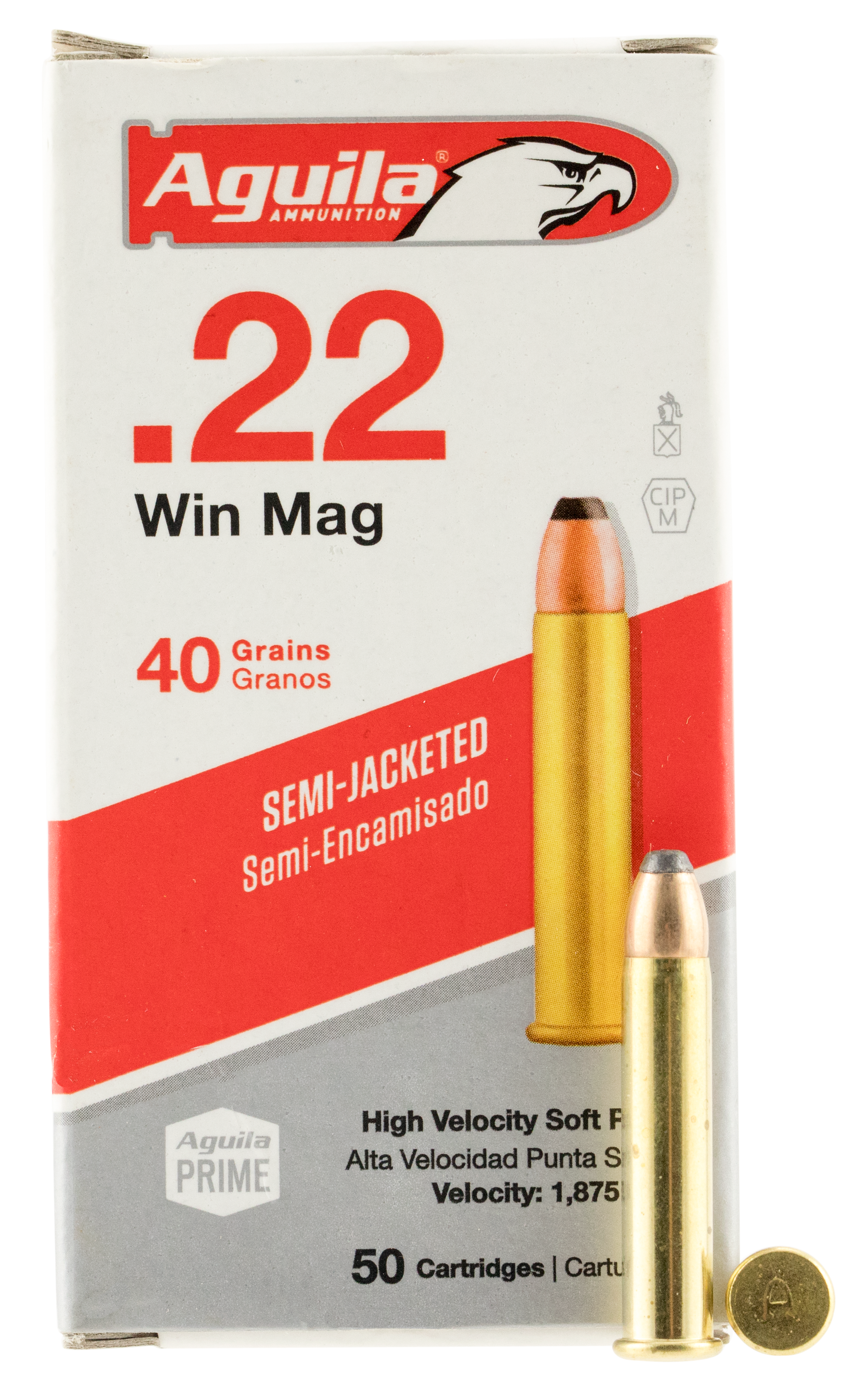 Aguila 1B222401 Silver Eagle 22 Winchester Magnum Rimfire (WMR) 40 GR Jacketed Soft Point 50 Bx/ 20 Cs