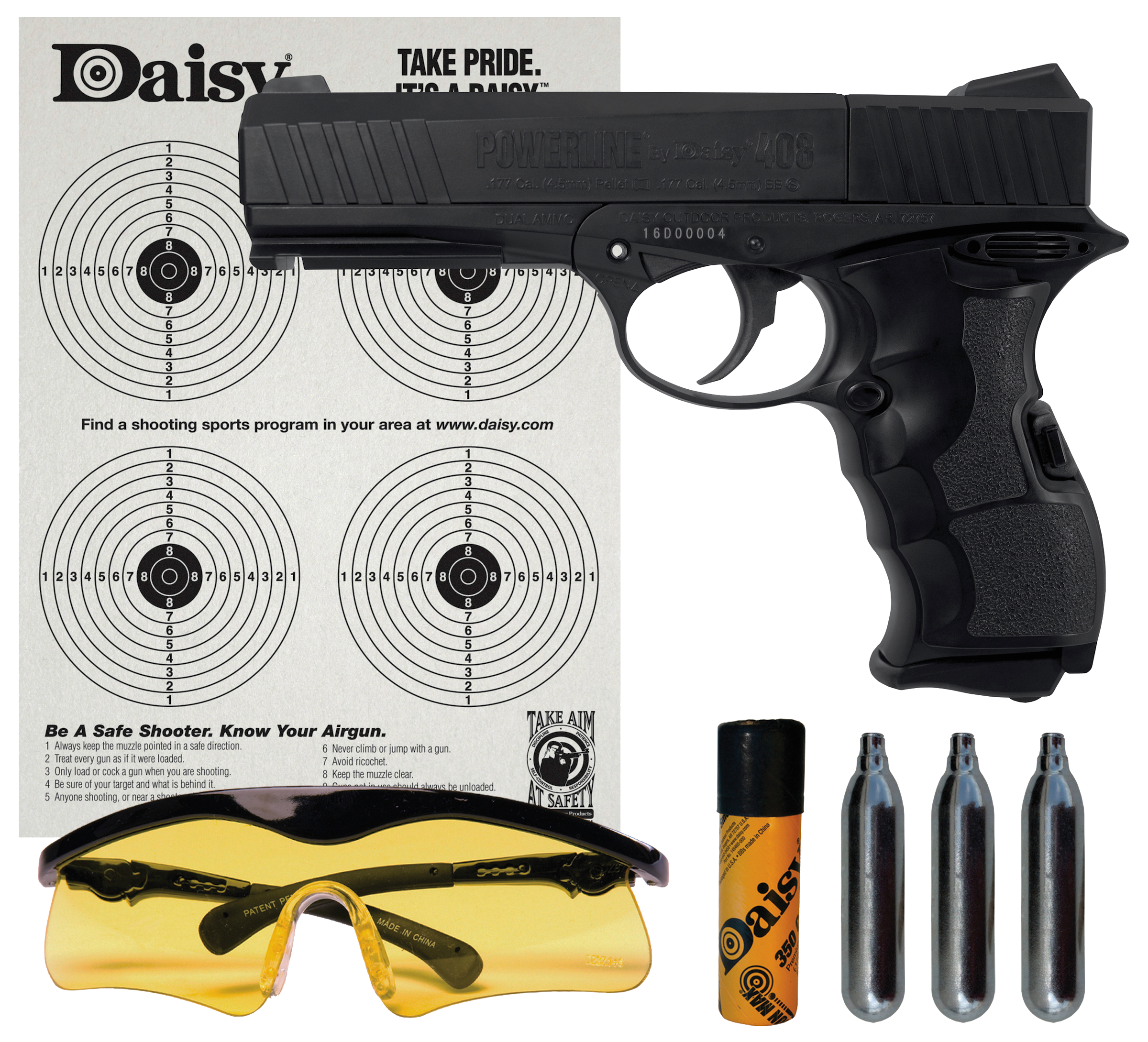 Daisy 4408 PowerLine 408 Air Pistol Kit Semi-Automatic .177 Pellet/BB Black CO2/BBs/Pellets/Glasses/Targets