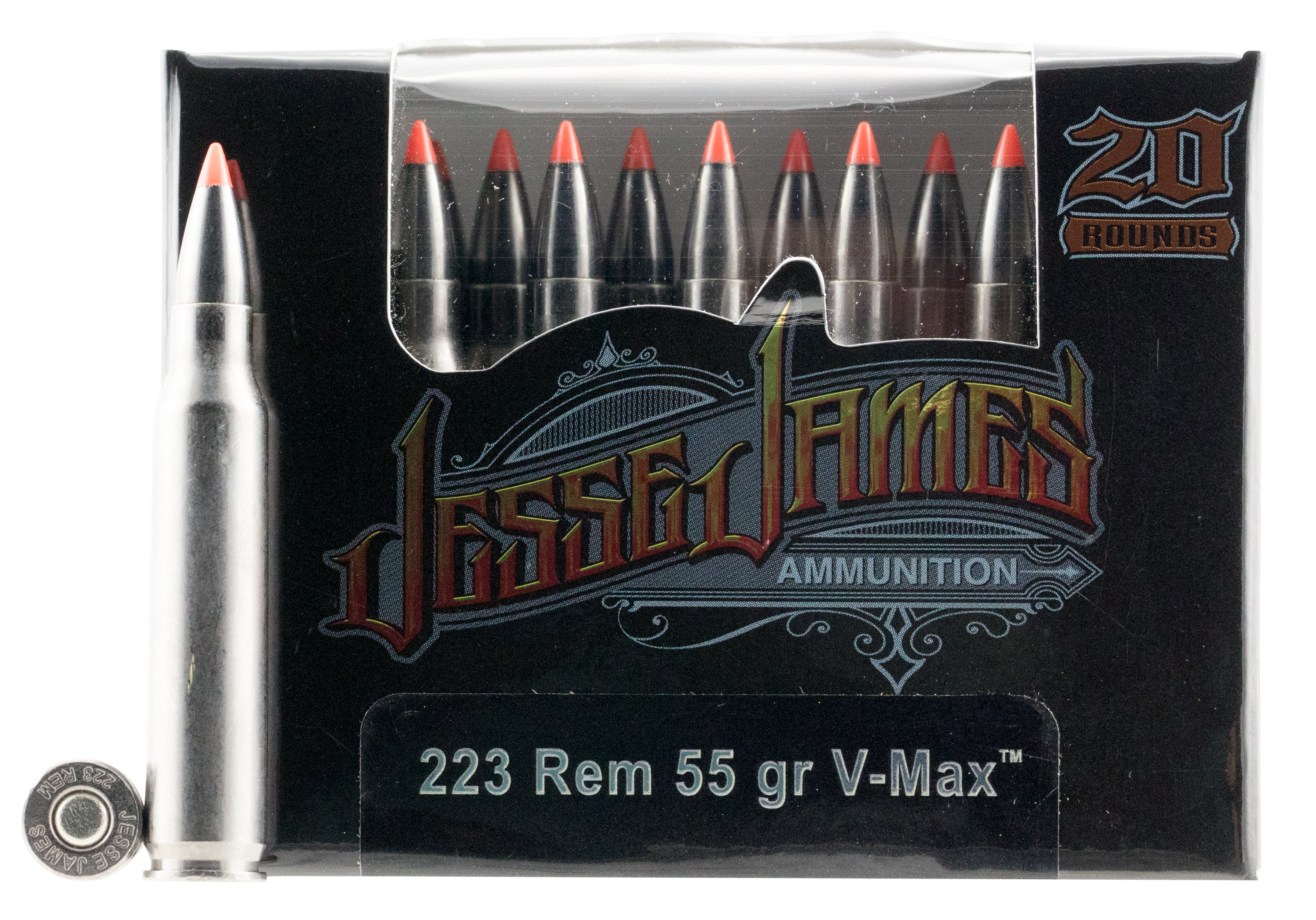 Ammo Inc 23055VMXJJ20 Jesse James 223 Remington/5.56 NATO 55 GR V-Max 20 Bx/ 10 Cs