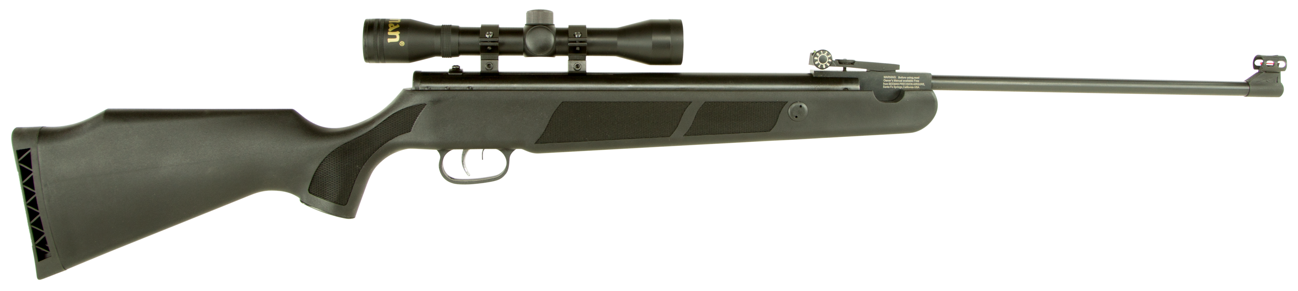 Beeman 1071  Wolverine Carbine Air Rifle with 4x32 Scope Break Open .177 FOF Pellet Black Synthetic Stock Blued