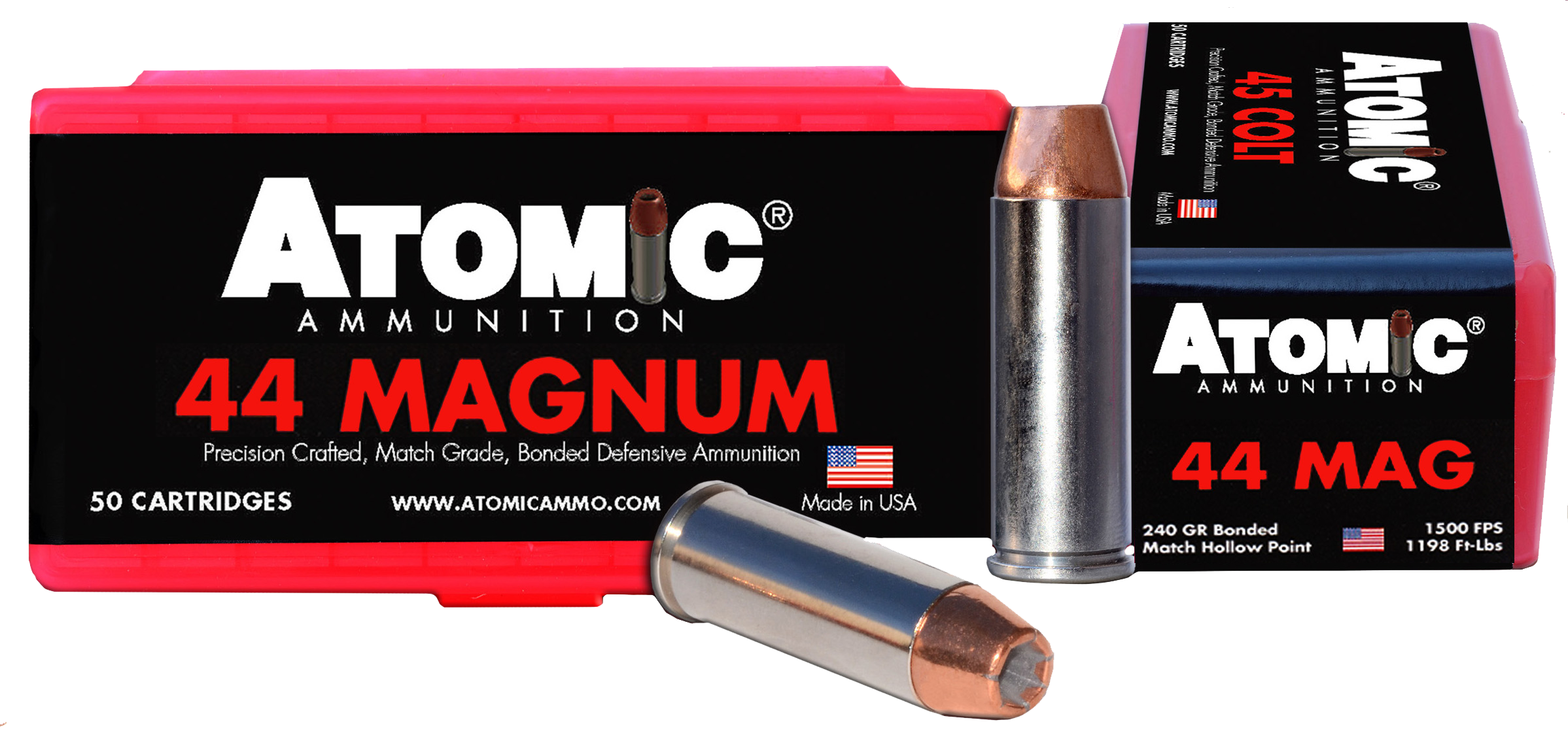 Atomic 00440 Match 44 Remington Magnum 240 GR Bonded Match Hollow Point 50 Bx/ 10 Cs