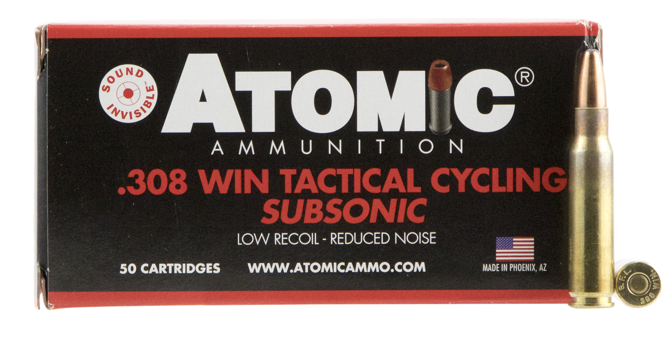 Atomic 00472 Tactical Cycling Subsonic 308 Winchester/7.62 NATO 260 GR Soft Point Round Nose 50 Bx/ 10 Cs