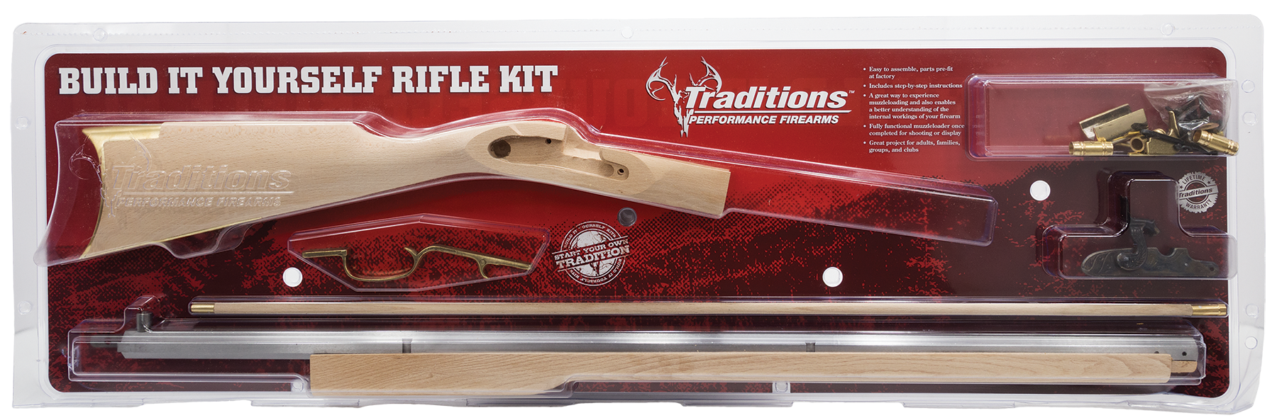 Trad KRC52206 Kentucky Rifle Kit Clam 50BlkPwdr 33.5
