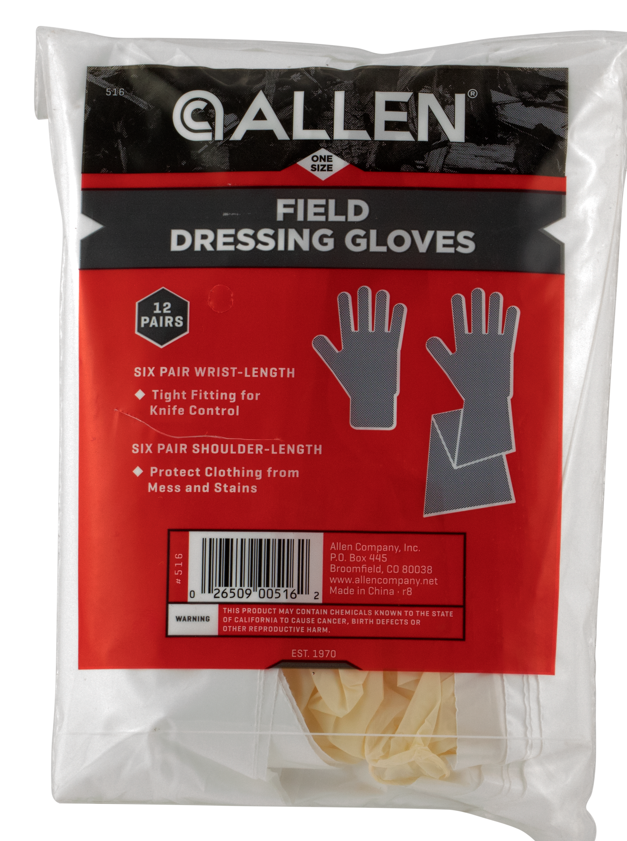 Allen Latex Gloves Field Dressing Gloves Clear 6 Shoulder Length/6 Wrist Length