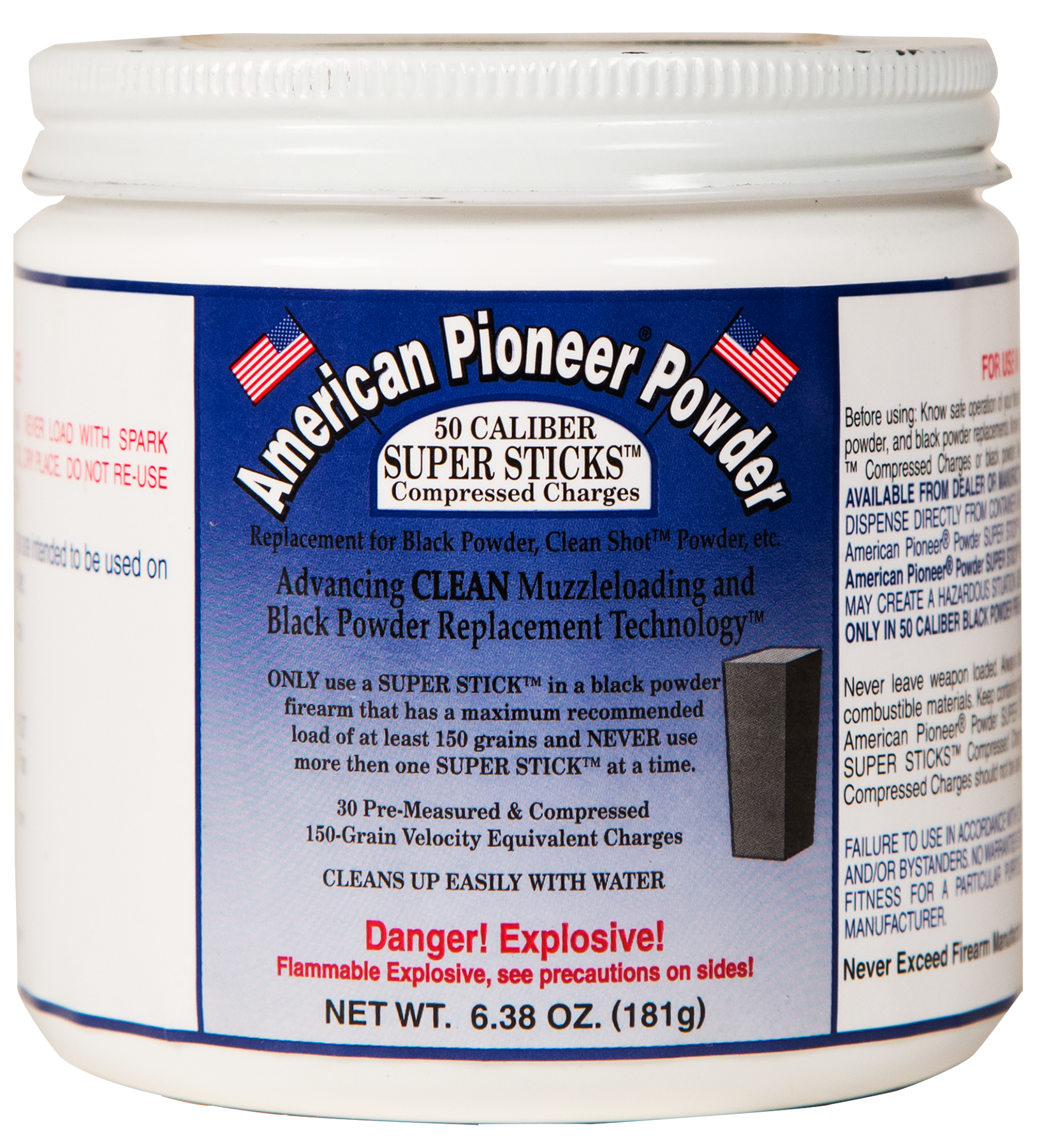 American Pioneer APP50150 Powder Super Sticks Compressed Charges 150 gr 50 Per Box