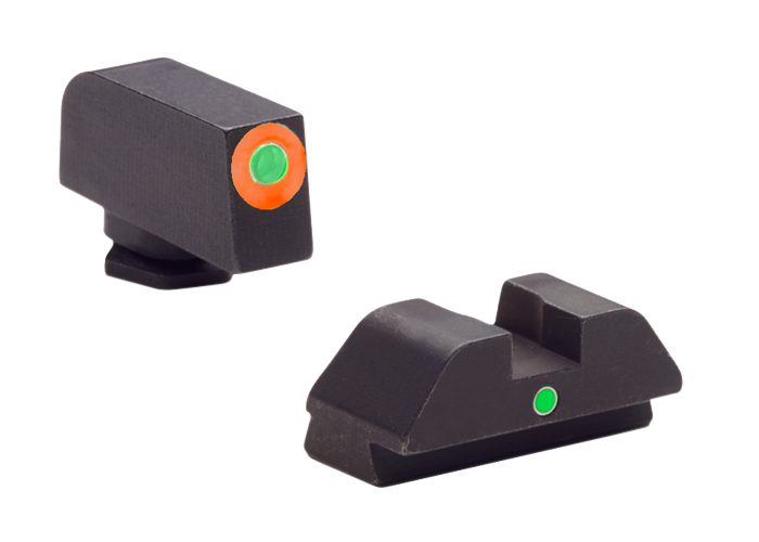 AmeriGlo GL205 i-Dot Night Sight Glock 42/43 Tritium Green w/Orange Outline Steel Green Black