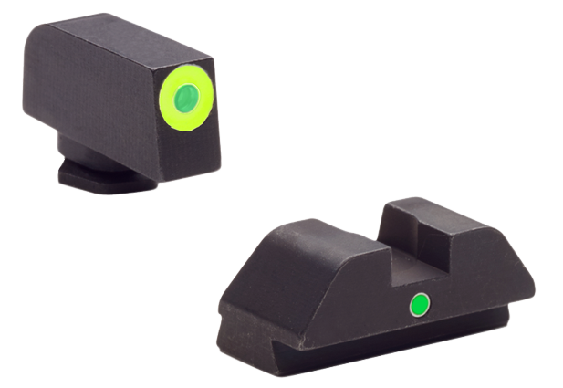 AmeriGlo GL305 i-Dot Night Sight Glock 42/43 Tritium Green w/Lime Outline Steel Green Black