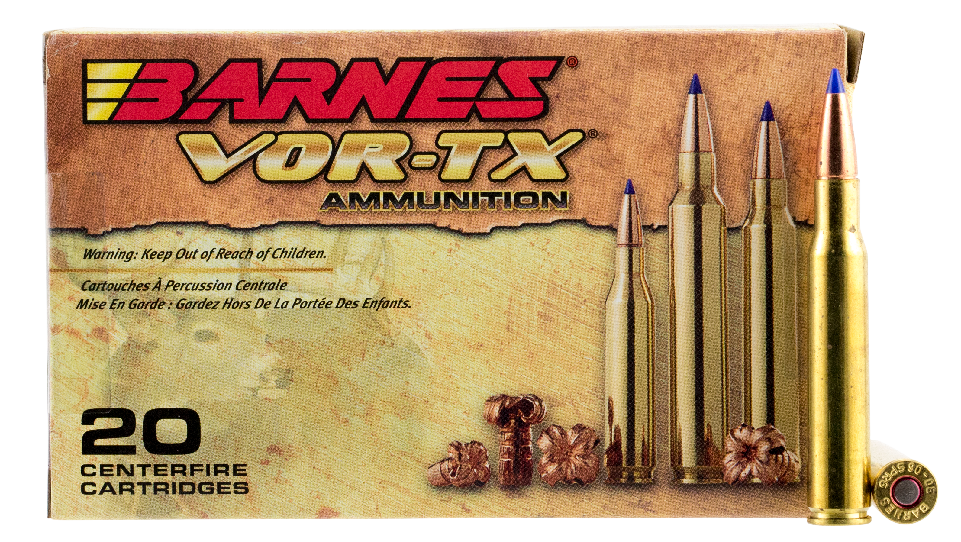Barnes 21565 VOR-TX 30-06 Springfield 168GR Tipped TSX Boat Tail 20Box/10Case
