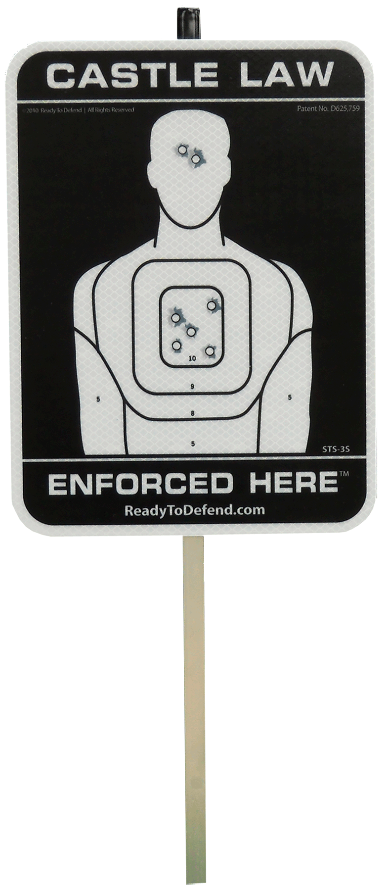 Ready to Defend/Cogent STS3S Reflective Yard Sign Castle Law Enforced Here Reflective Yard Sign Black/White