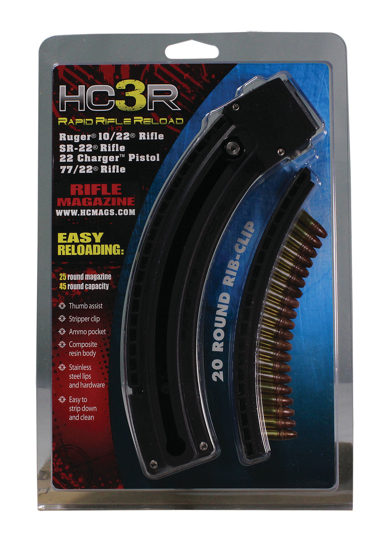 HCMags HC3R 10/22 Mag Ruger 10/22 25 rd Black Finish