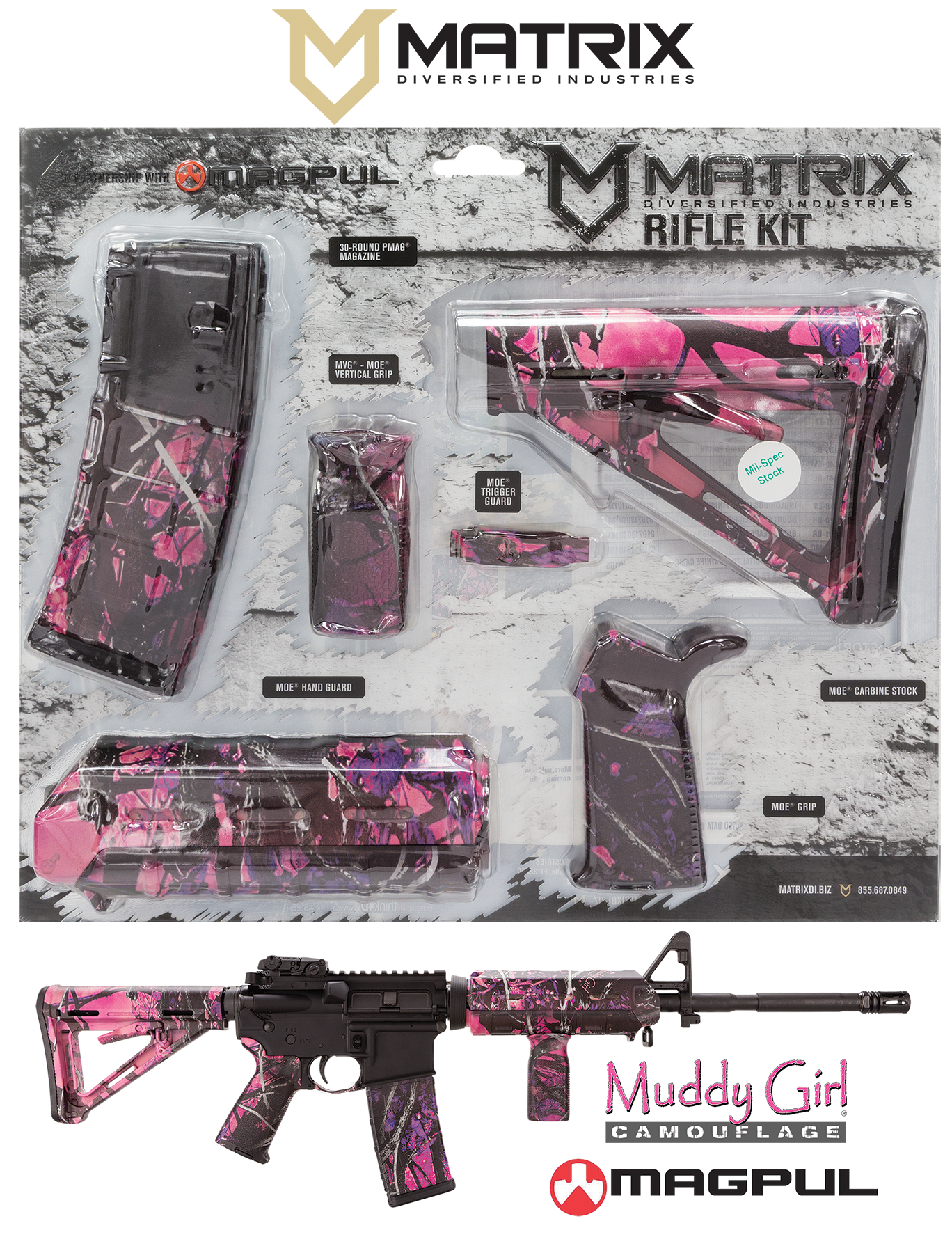 MDI MAGMIL03-MG Muddy Girl Magpul MOE Kit Poly AR-15
