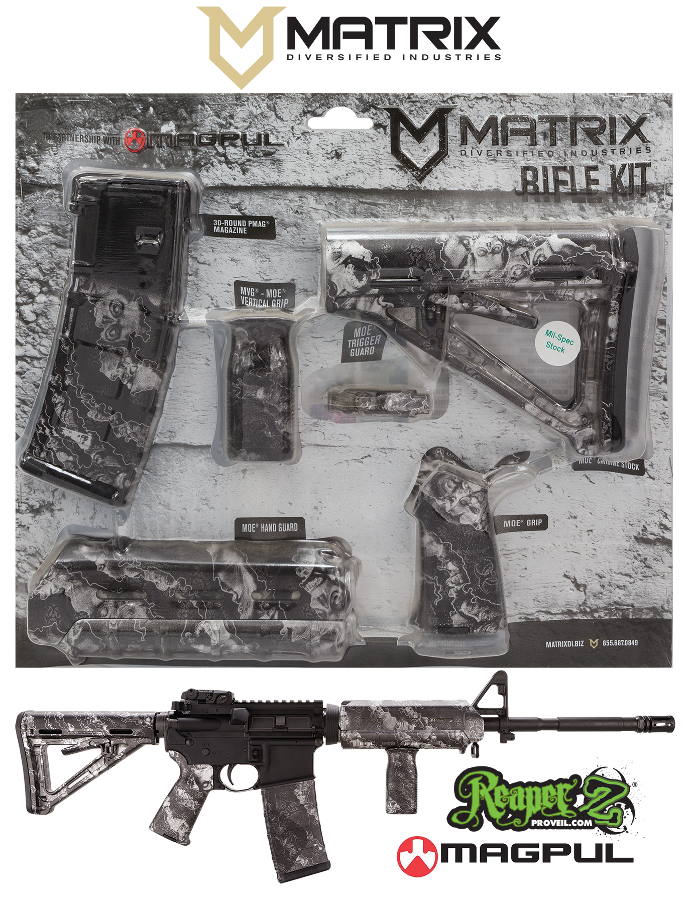 MDI MAGCOM25-ZS ReaperZ Silver Magpul MOE Kit AR-15 Polymer