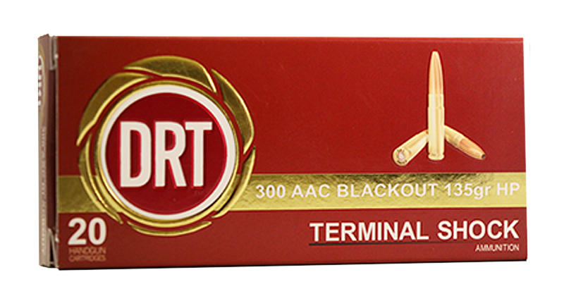 Dynamic Research Tech 00125 Terminal Shock 300 AAC Blackout/Whisper (7.62x35mm) 135 GR Hollow Point Boat Tail 20 Bx/ 50 Cs