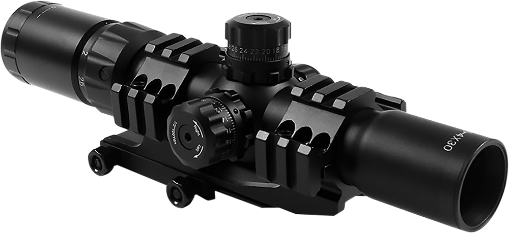 Aim Sports JTHR1 Recon 1.5-4x 30mm Obj 36.6 ft @ 100yds FOV 30mm Tube Black Illuminated 3/4 Circle, 3 Color
