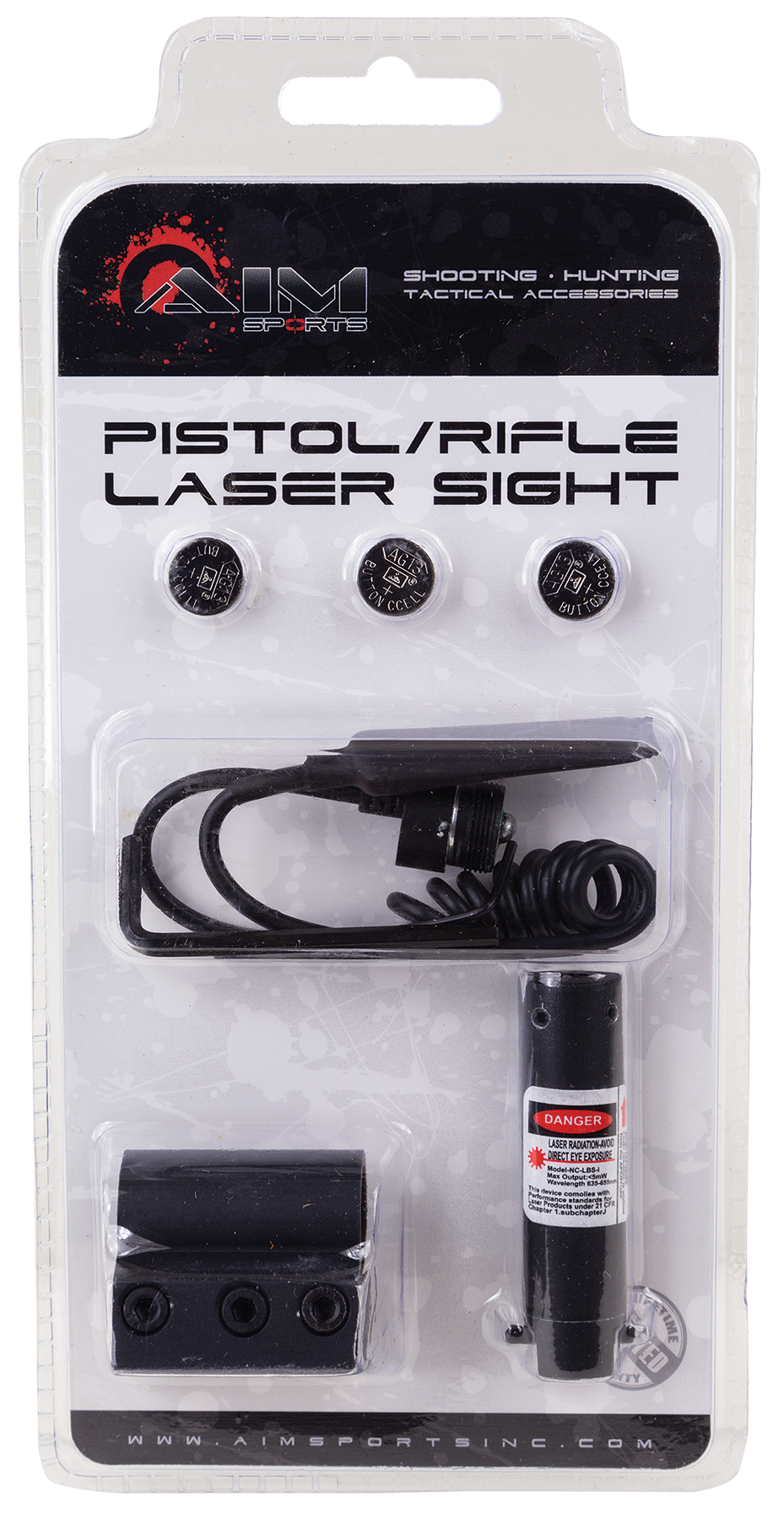 Aim Sports LH002 Pistol/Rifle Red Laser Universal w/Accessory Rail Weaver or Picatinny