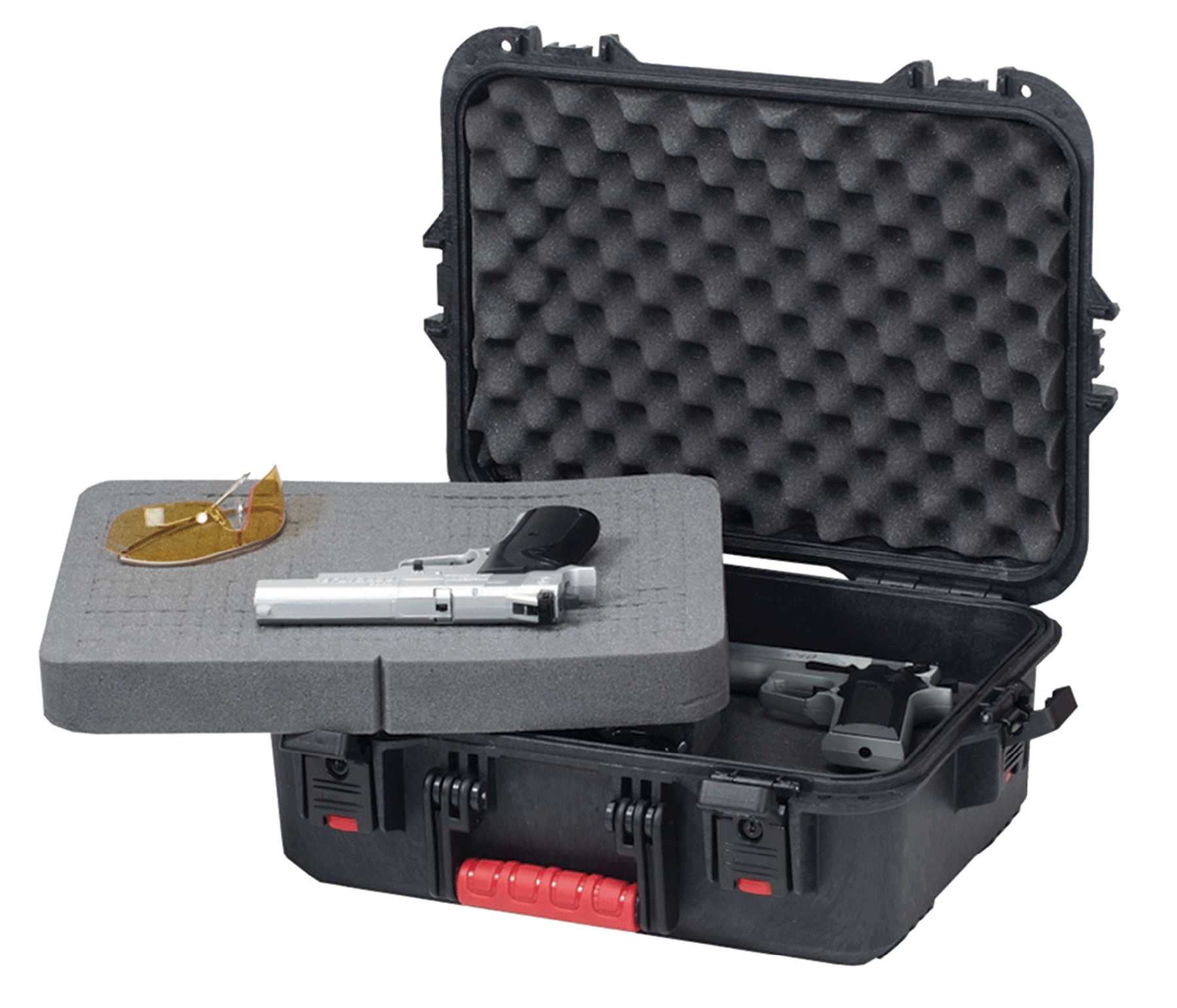 Plano 108021 All Weather Pistol/Accessory Hard Case Plastic Black w/Latches