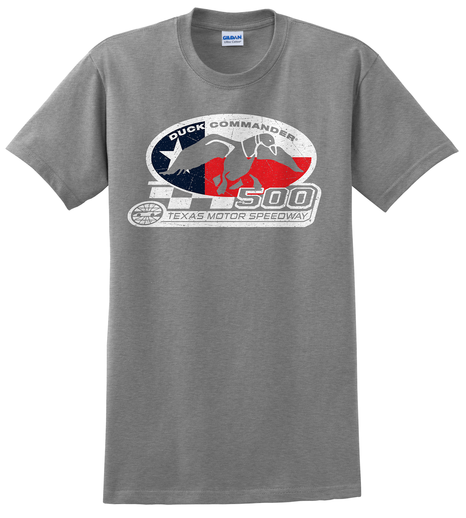 Duck Commander DS500TFL07 Texas Flag T-Shirt Short Sleeve Gray Large Cotton 10Pk
