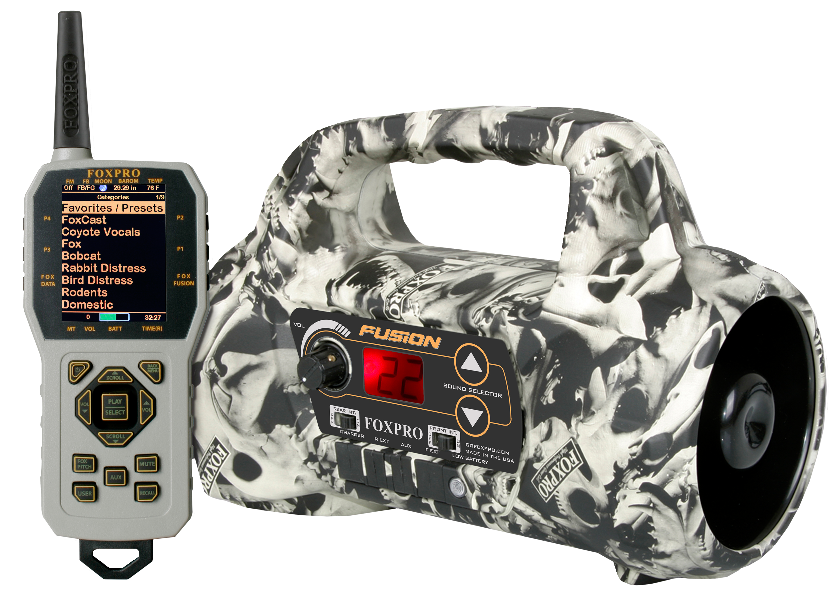 Foxpro Fusion Portable Electric Caller Programmable up to 1000 Calls Skull Camo