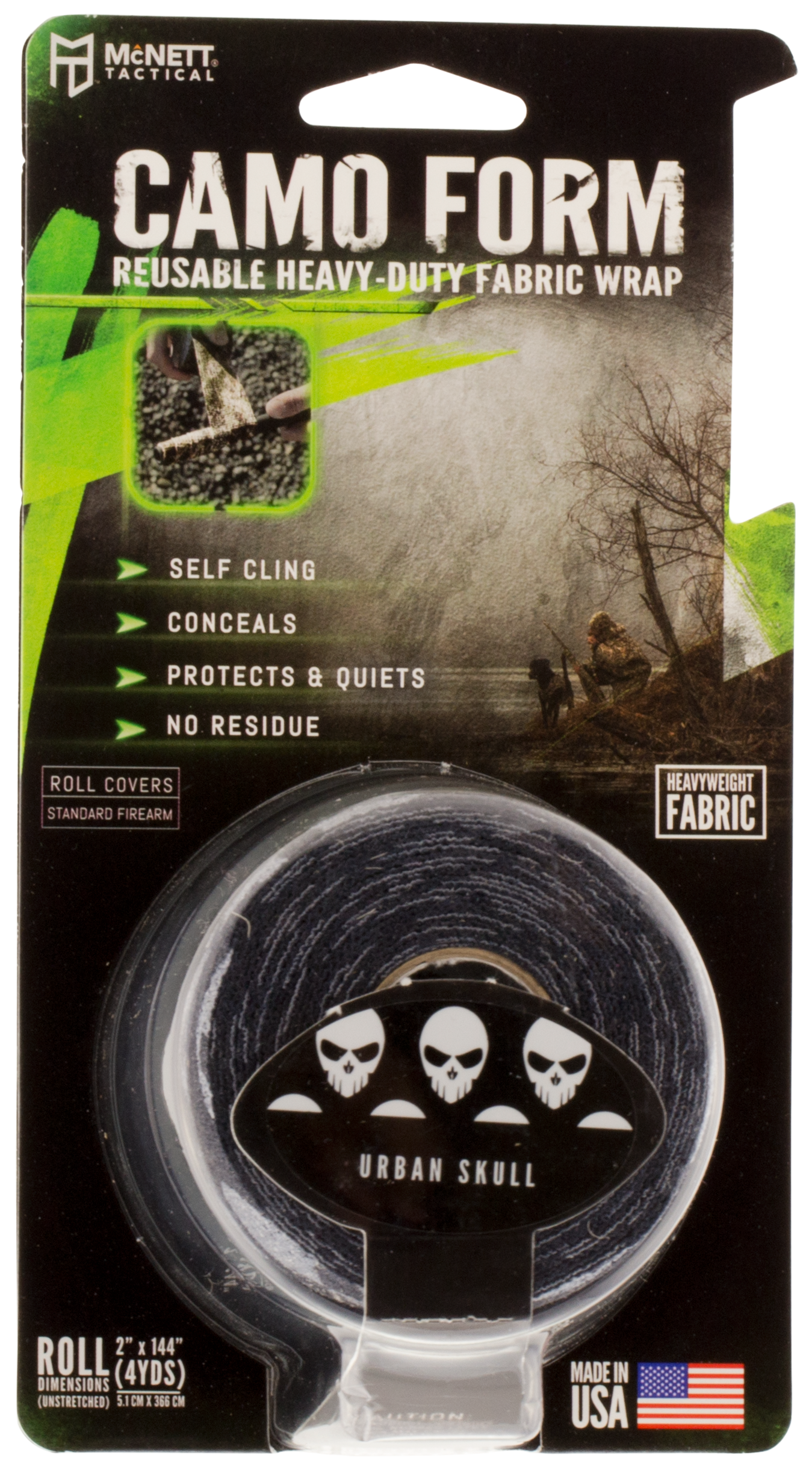 McNett Tactical 19910 Camo Form Protective Wrap Tape Black w/Gray Skulls
