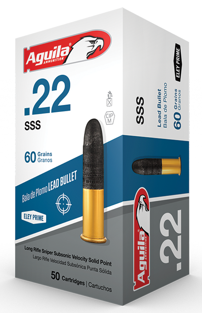 Aguila 1B222112 Sniper Subsonic 22 Long Rifle (LR) 60 GR Lead Round Nose 50 Bx/ 100 Cs