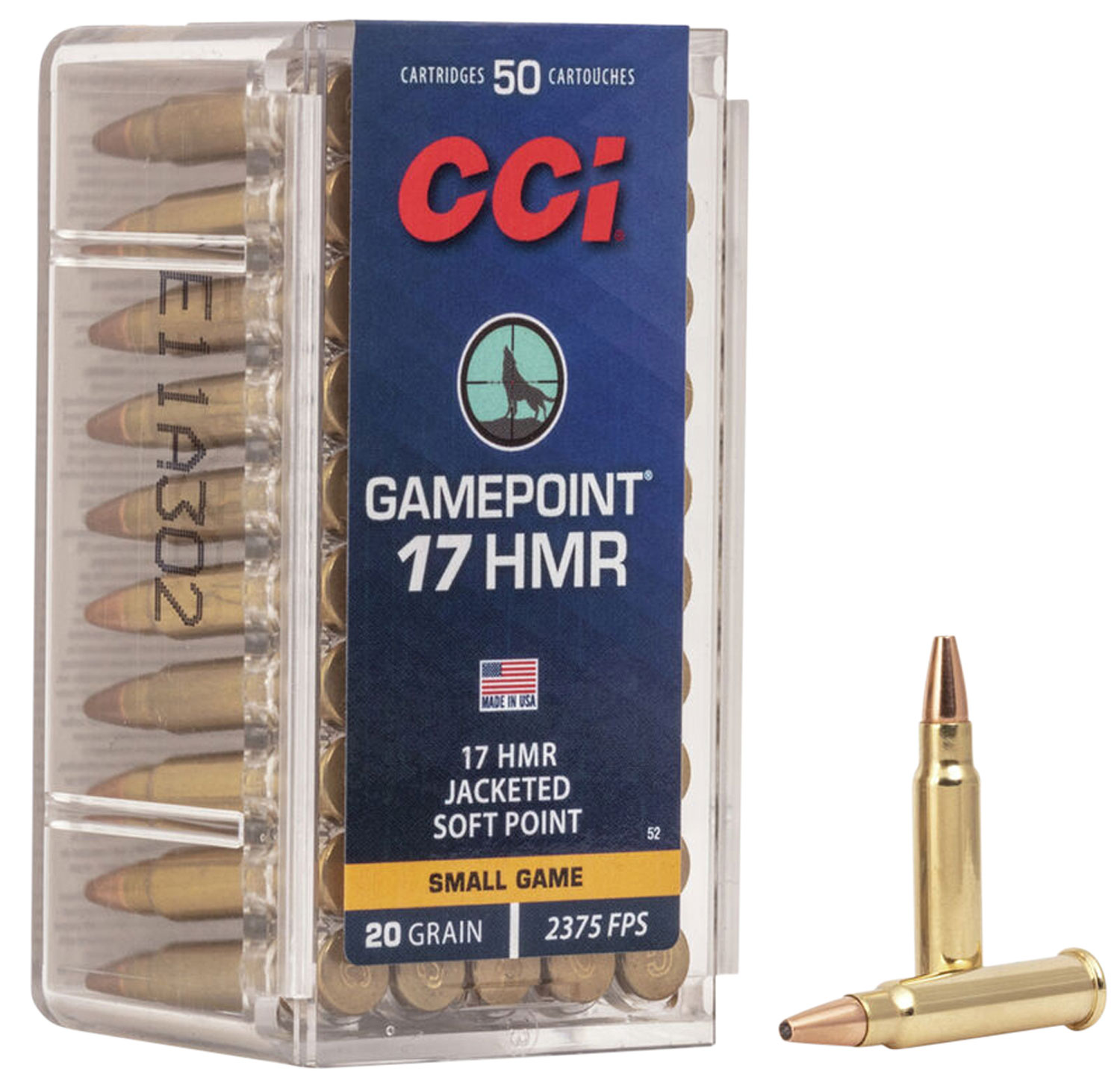 CCI 0052 17HMR 17 HMR Jacketed Hollow Point 20 GR 50Box/40Case