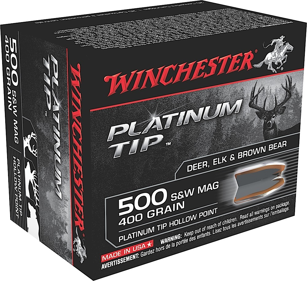 Win Ammo S500PTHP Supreme 500 S&W Platinum Tip HP 400 GR 20Box/10Case