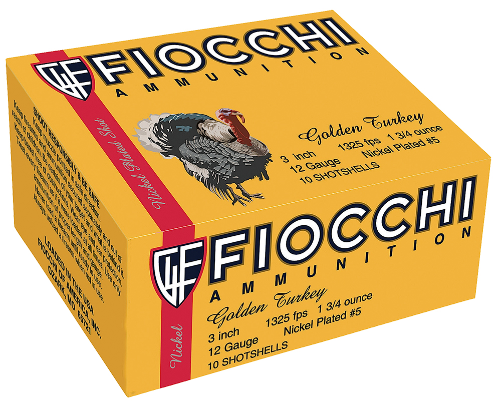 Fiocchi 123TRK5 Turkey Nickel Plated 12 ga 3″ 1-3/4oz 5 Shot 10Box/25Case