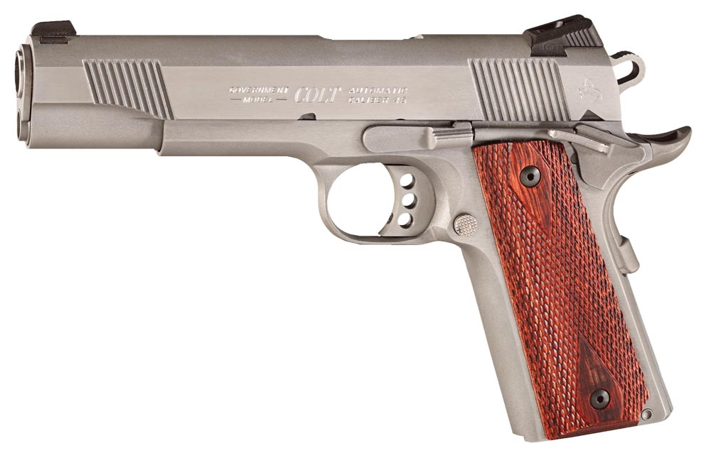 Colt O1070XSE XSE Government 45 ACP 5″ 8+1 Double Diamond Rosewood Grip SS
