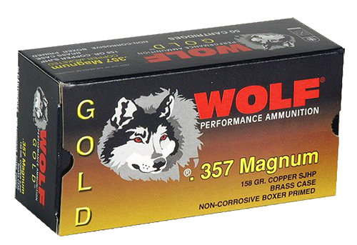 Wolf G357HP1 Gold 357 Rem Mag Semi-Jacketed Hollow Point 158 GR 50Box/30Case