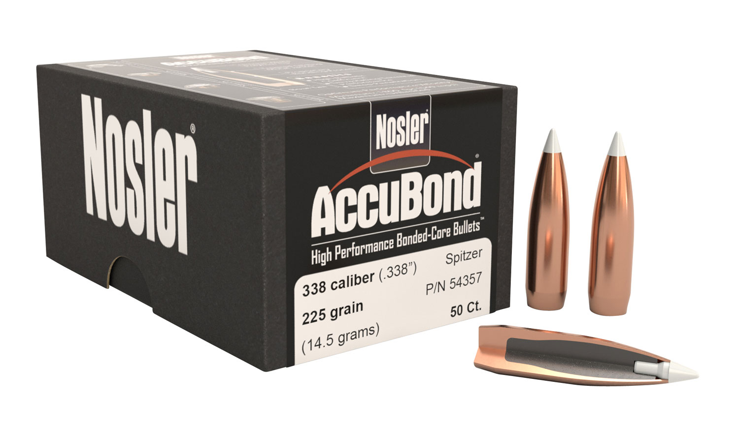 Nosler 54357 AccuBond .338 225 GR 338 Caliber 50 Per Box