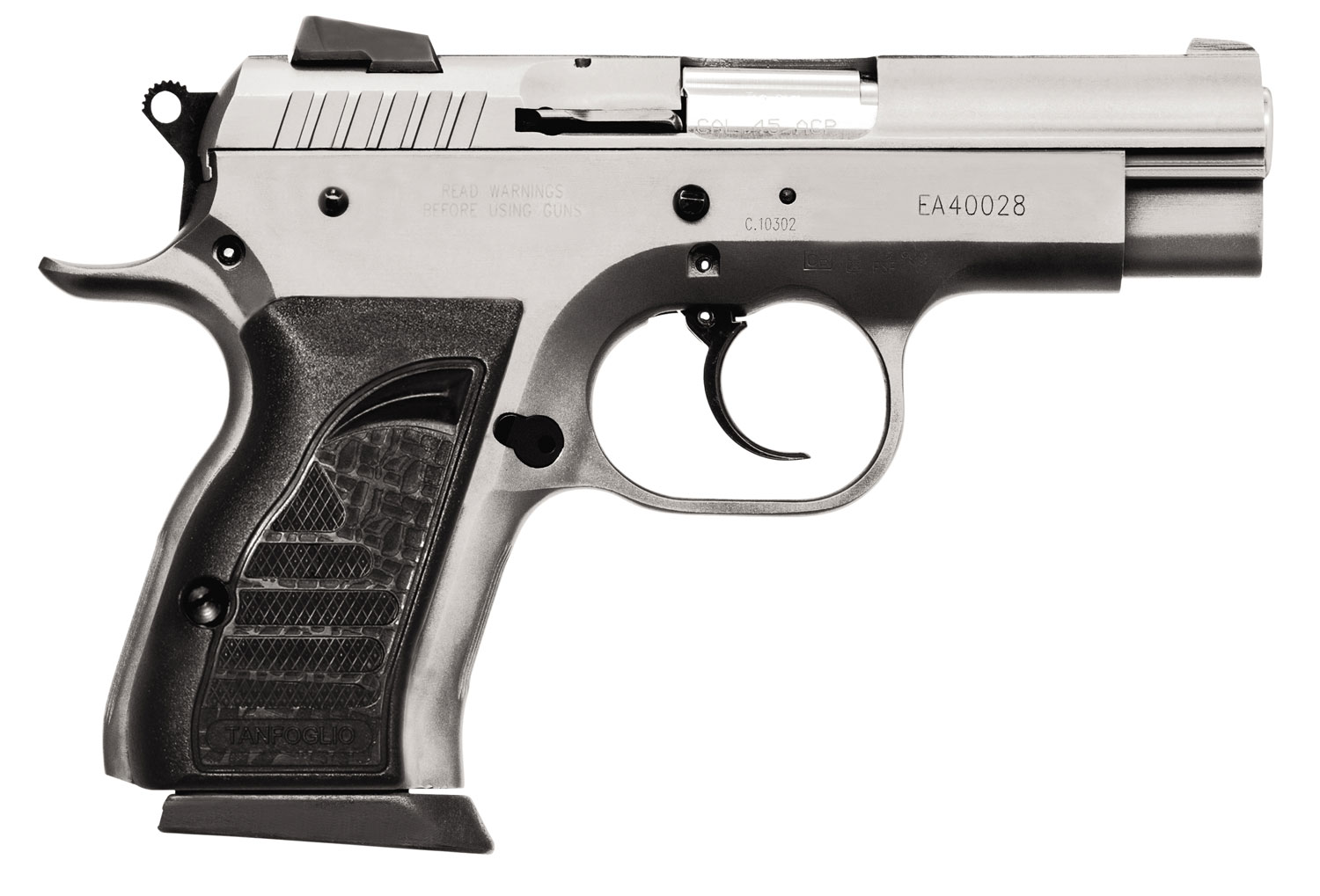 EAA 999157 Witness Compact Steel 45 ACP 3.6″ 8+1 Rubber Grip Wonder Finish
