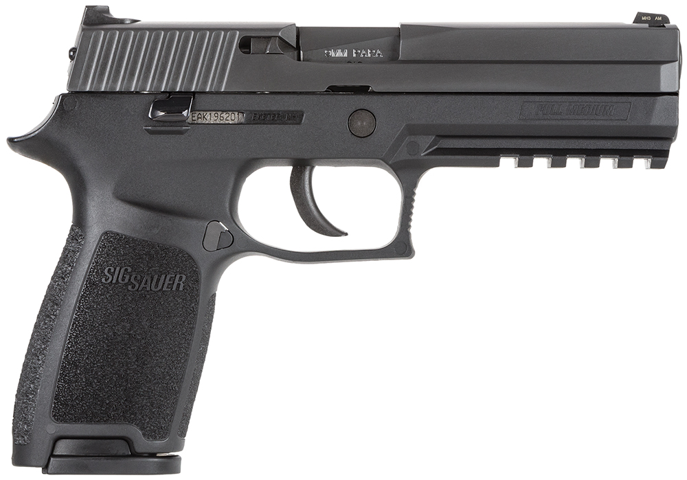"SIG 250F-9-BSS P250 Full Size DAO 9mm 4.7"" 17+1 NS Poly Grip Nitron Blk"
