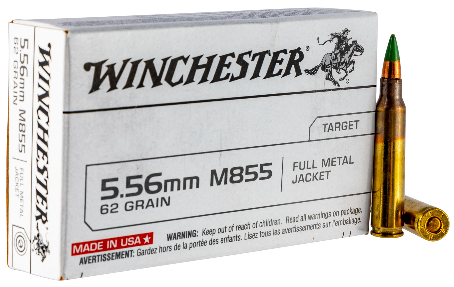 Winchester Q3269 Best Value USA 5.56 NATO FMJ Green Tip 62GR FMJ 20 Box/50 Case