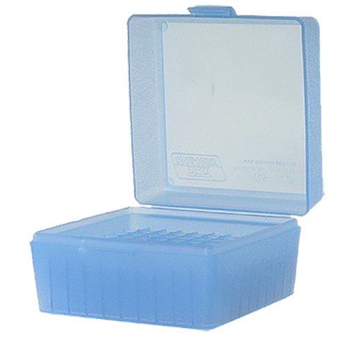 MTM RM10024 R-100 Rifle Ammo Box Med 243/308 100rd Clear Blue Poly