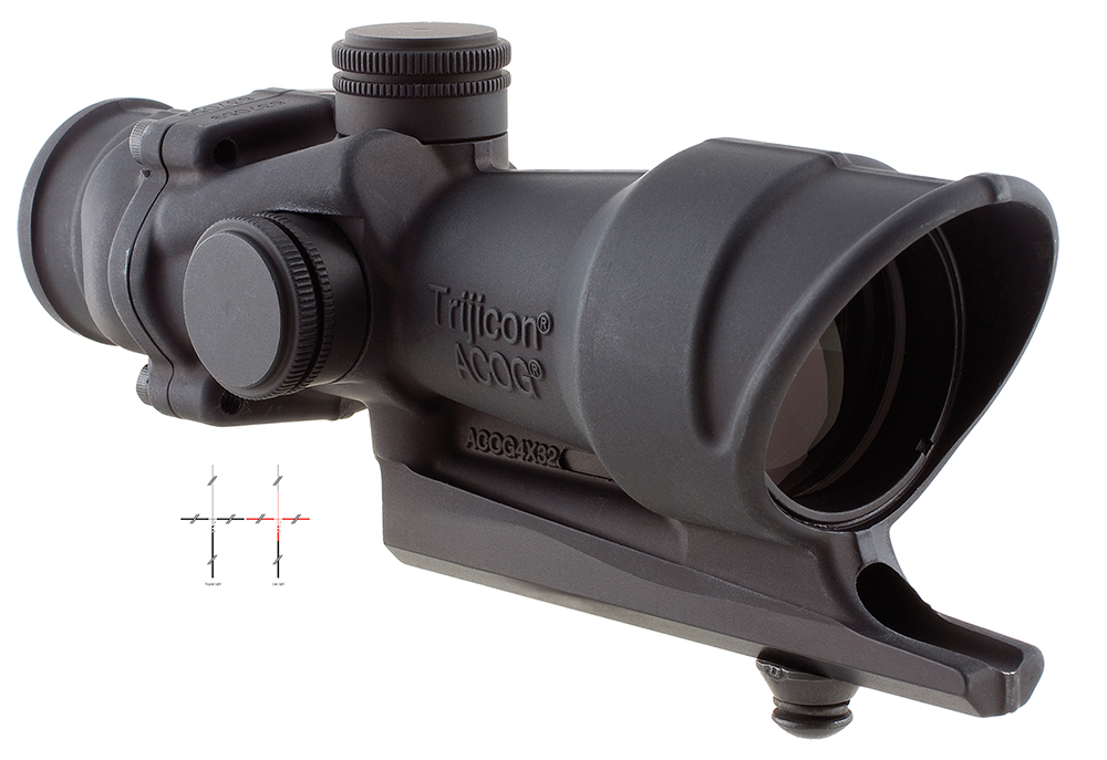 Trijicon TA01B ACOG 4x32mm AR15 308Cal Red Crosshair 36.80ft @100yds FOV Red Blk