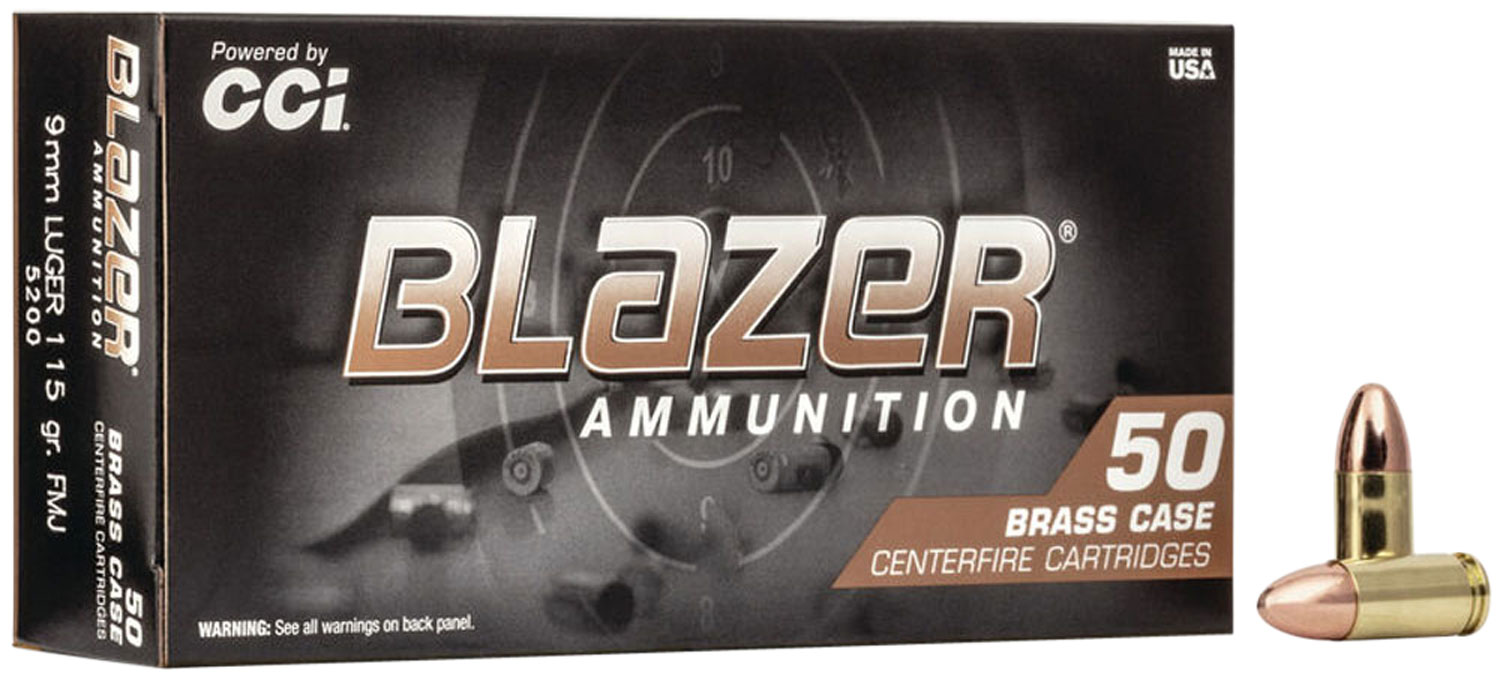 CCI 5200 Blazer Brass 9mm Full Metal Jacket Round Nose 115 GR 50Box/20Case
