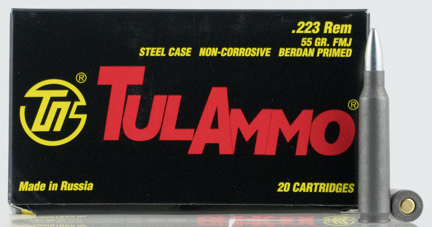 Tulammo TA223550 223 Remington/5.56 NATO FMJ 55GR Steel Case 20Box/50Case