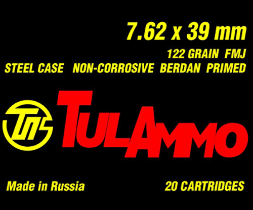Tulammo UL076201 7.62X39 Full Metal Jacket 122GR Steel Case 20Box/50Case
