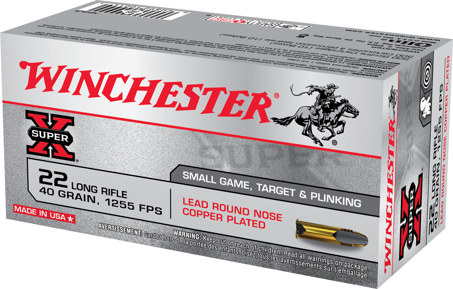 Winchester Ammo X22LR Super X 22 Long Rifle Lead Round Nose 40 GR 50Box/100Case