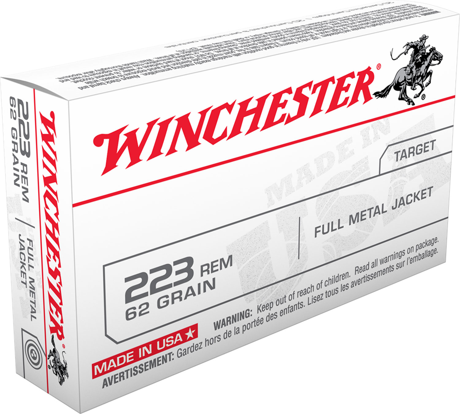 Winchester Ammo USA223R3 Best Value 223 Remington/5.56 NATO 62 GR Full Metal Jacket 20 Bx/50 Cs